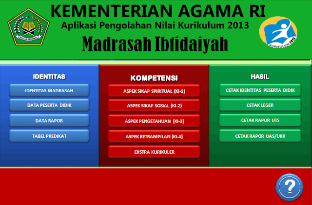 DOWNLOAD APLIKASI RAPOR KURIKULUM 2013 MADRASAH