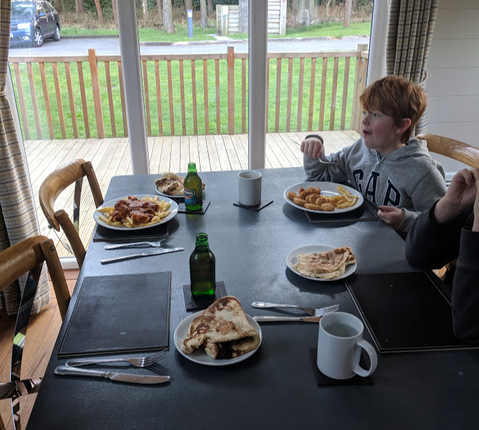 A Review of Darwin Forest & The Peak District with Tweens  - takeaway in the lodge