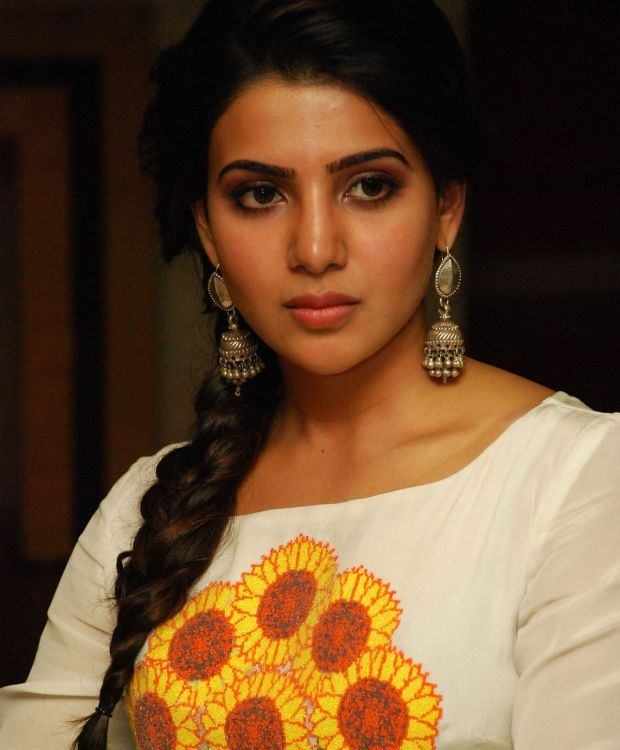 Samantha Sad Looking Photos In White Dress
