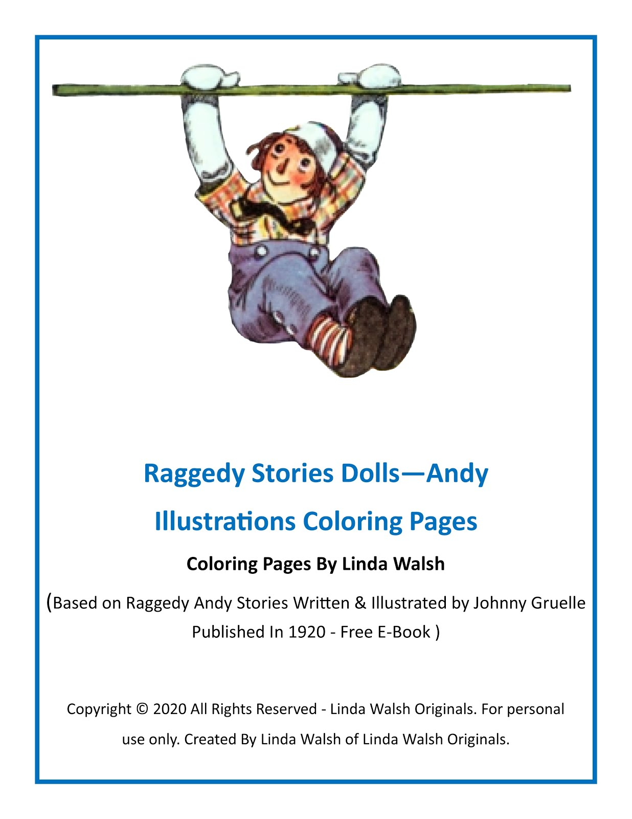 Raggedy Stories Dolls - Andy Illustrations Coloring Pages Free E-Book