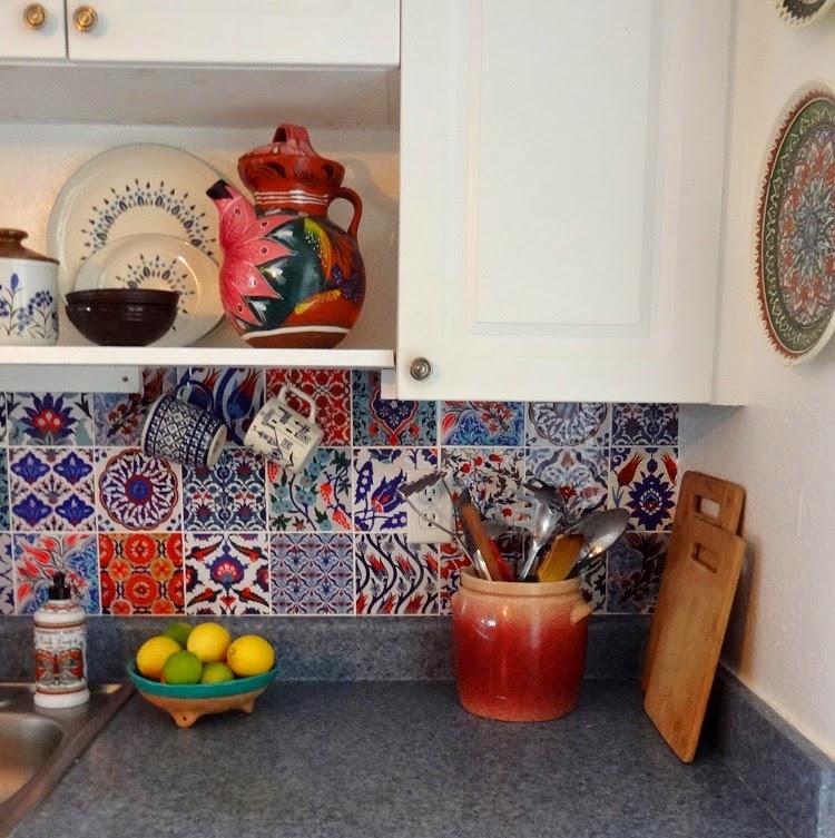 Turkish Home Decor: GYPSY YAYA: Bleucoin Tile Decal Backsplash