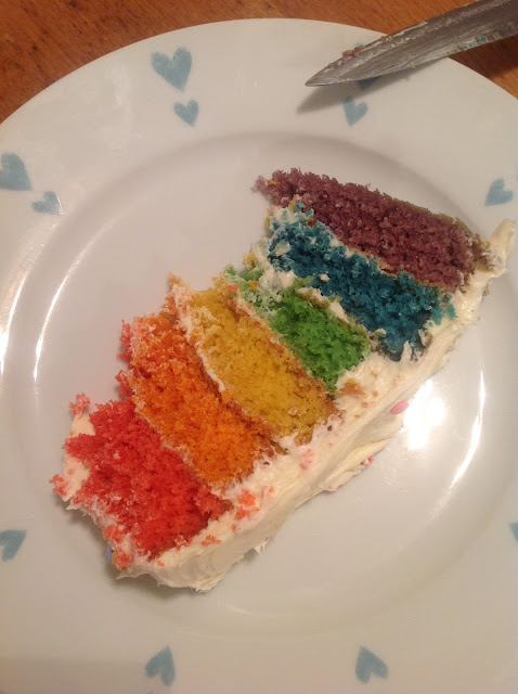 slice of rainbow cake