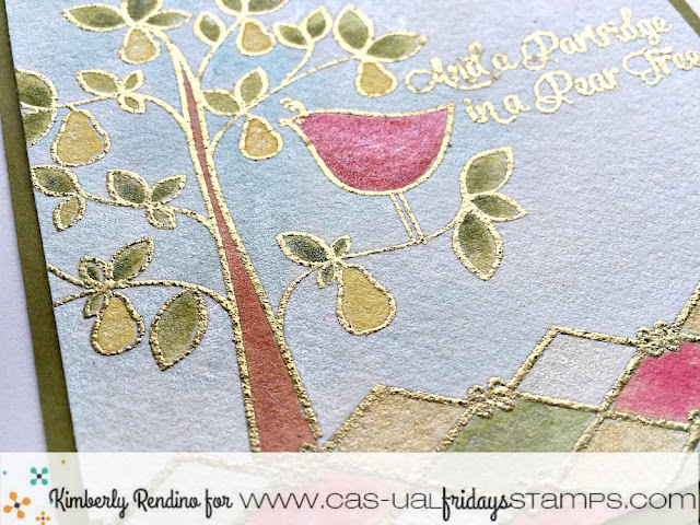watercolor | heat embossing | partridge in a pear tree | cas-ual fridays | clear stamps | kimpletekreativity.blogspot.com | handmade card | cardmaking | holiday | christmas