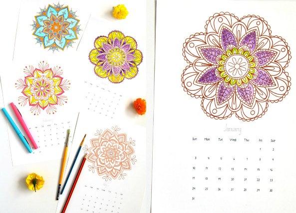 mandalas plantillas calendarios, calendarios mandalas, mandalas, dibujar,