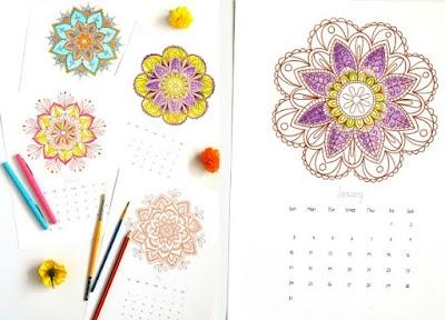 Calendario mandalas 2016 plantillas