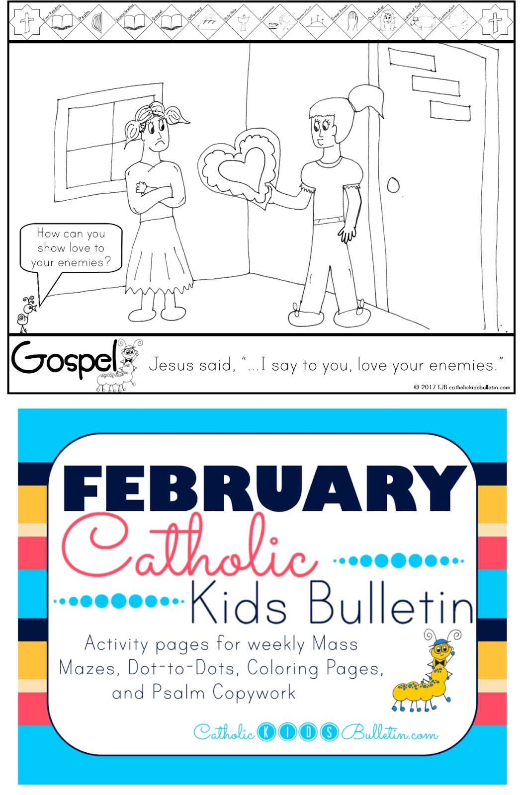 3 Kindness Catholic Kids Bulletin Coloring Page Matthew 5.38-48