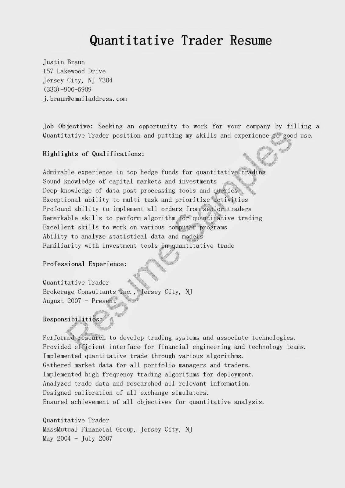 resume samples  quantitative trader resume sample
