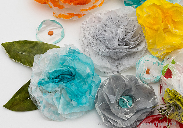 Layers of ink - Tissue Paper Flower Class, Skillshare DIY Flower Series, by Anna-Karin.