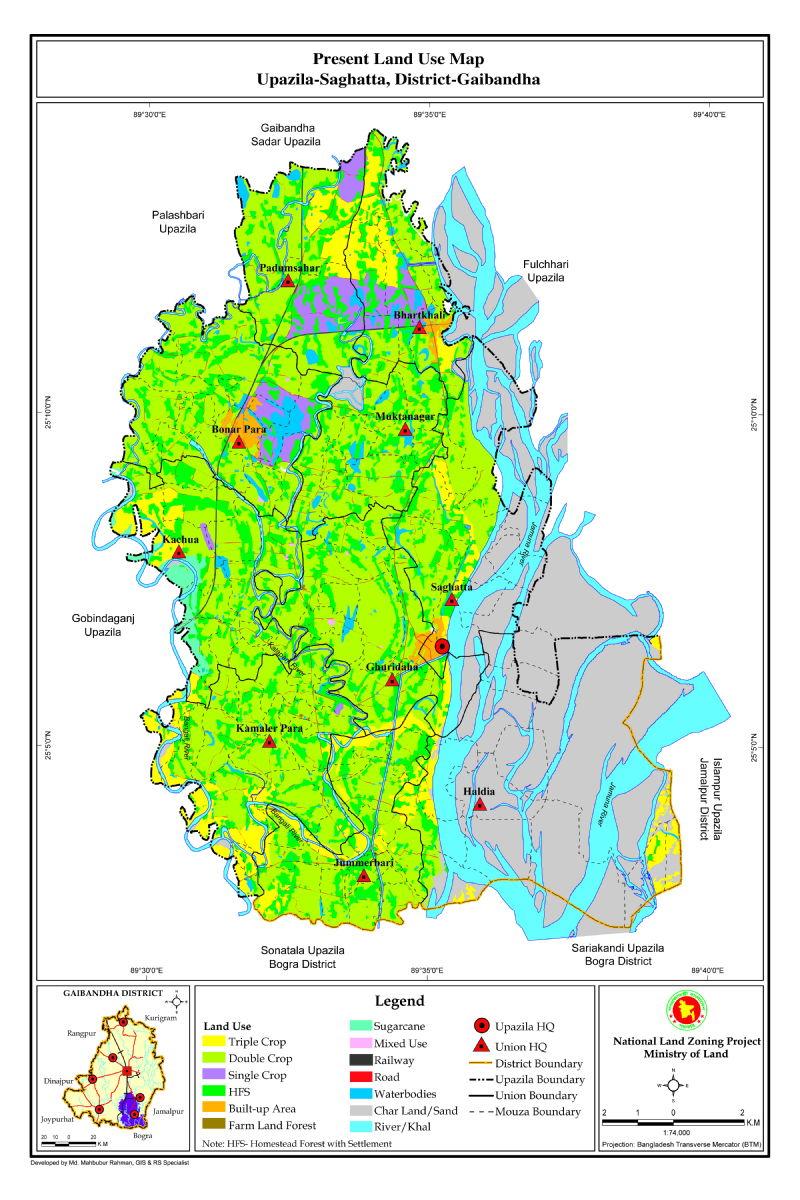 Saghata Upazila Mouza Map Gaibandha District Bangladesh