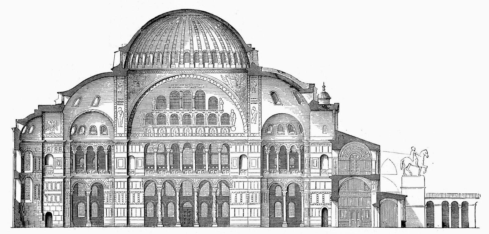 الفن البيزنطي الرومي الكاتدرائية الشهيدة آجيا صوفيا في  القسطنطينية