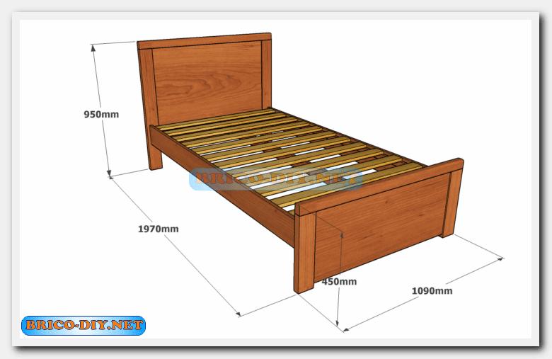Camas de madera plano con medidas de una plaza y media for Como hacer una base para cama individual