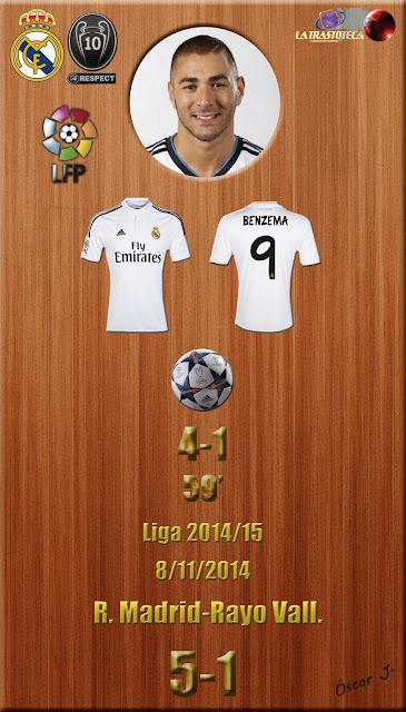 Benzema - (4-1) - Real Madrid 5-1 Rayo - Liga 2014/15 - Jornada 11 - (8/11/2014)