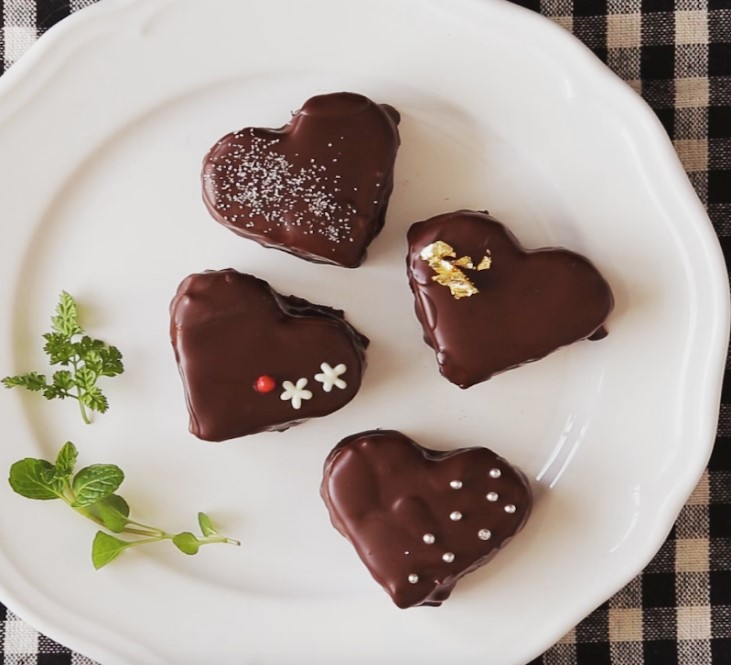 Fluffy Chocolate Covered Heart Cakes