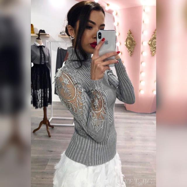 Εντυπωσιακή γκρι γυναικεία μπλούζα OTIS GREY