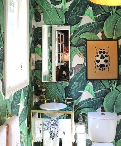 tropical wallpaper in powder room