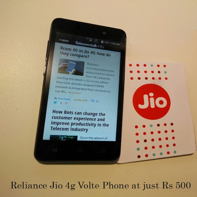 Reliance Jio 4g Volte Phone at just Rs 500