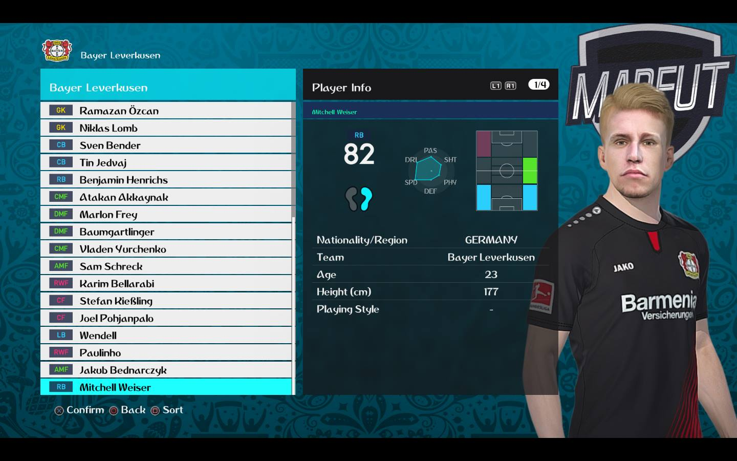 PES 2018 Mitchell Weiser Face by Facemaker VN HUY BUI