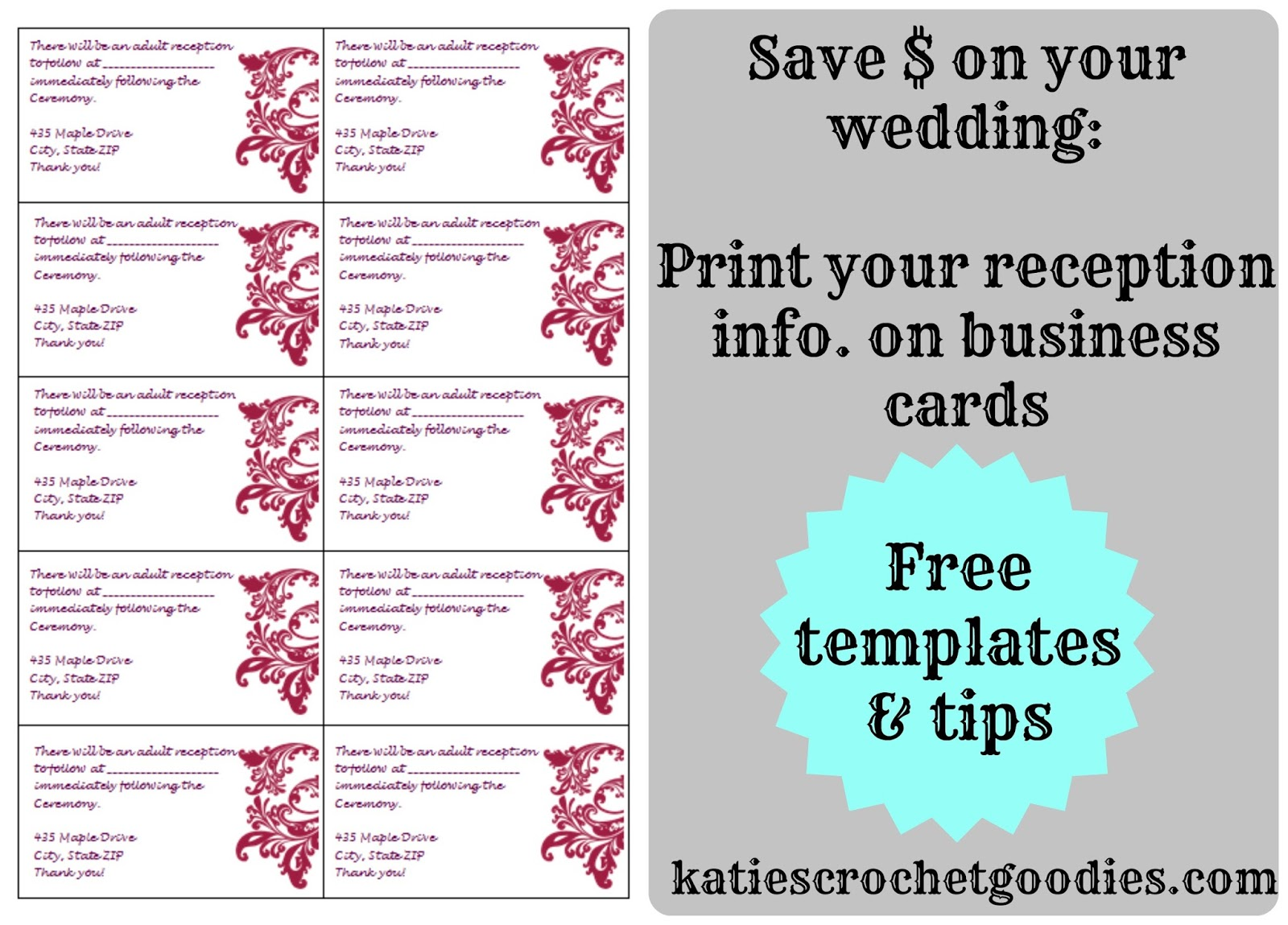Free Wedding Templates RSVP Reception Cards Katies Crochet Goodies