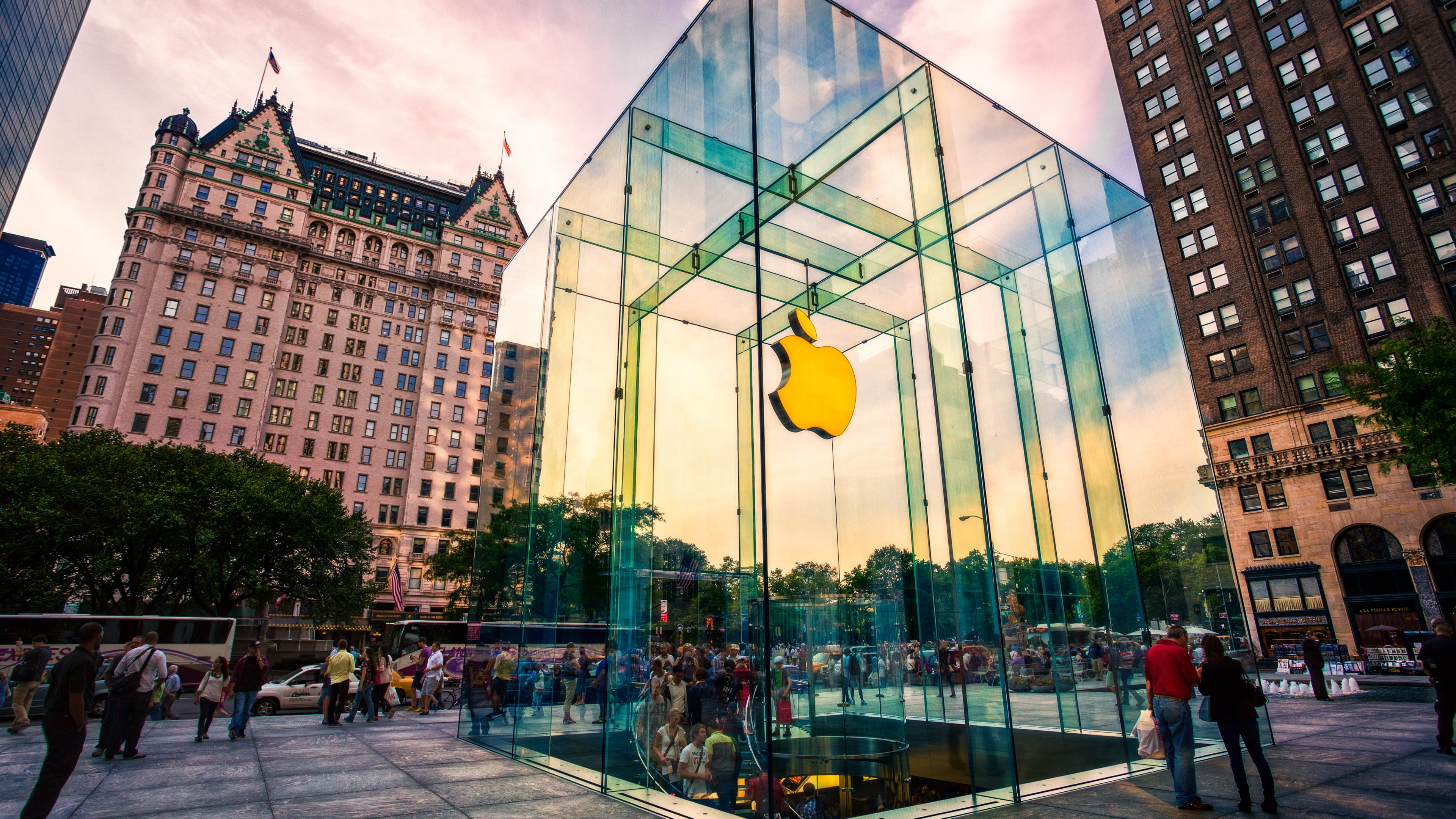 apple store on 5th avenue new york wallpaper hd wallpapers