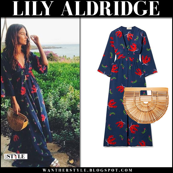 Lily Aldridge in blue floral print maxi dress jaline ella model fashion january 2