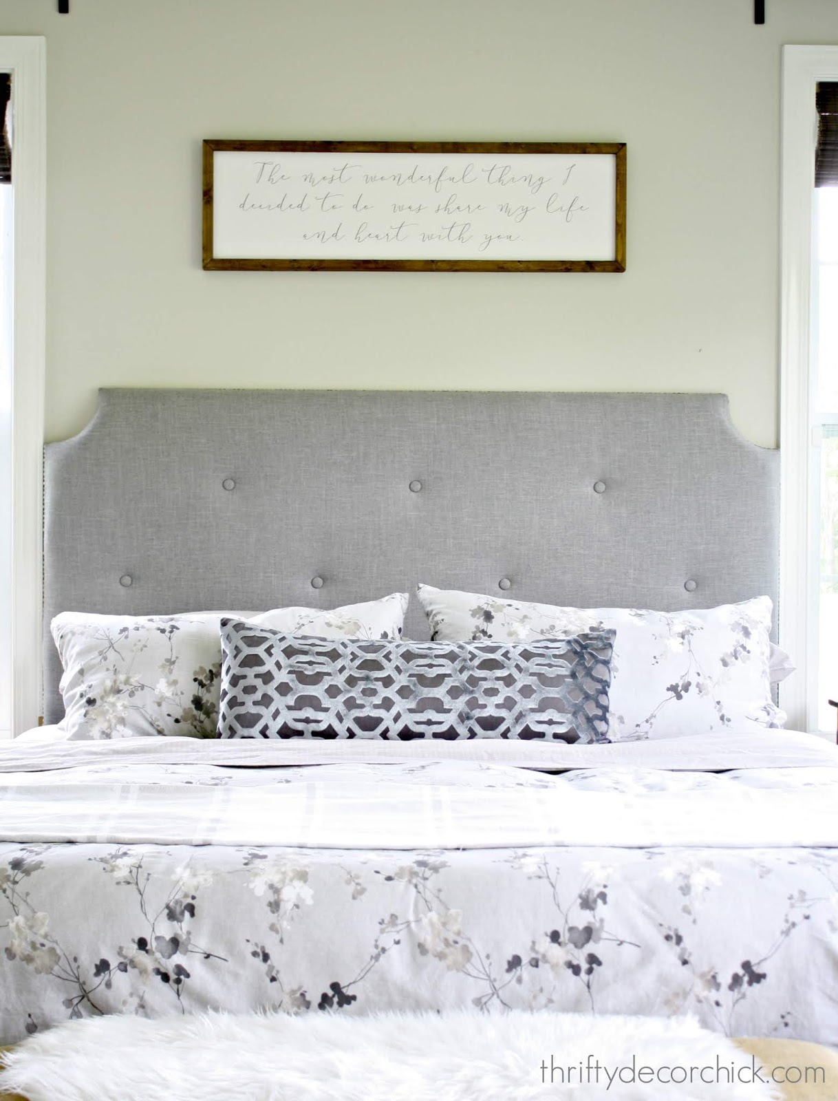 DIY tufted headboard light gray