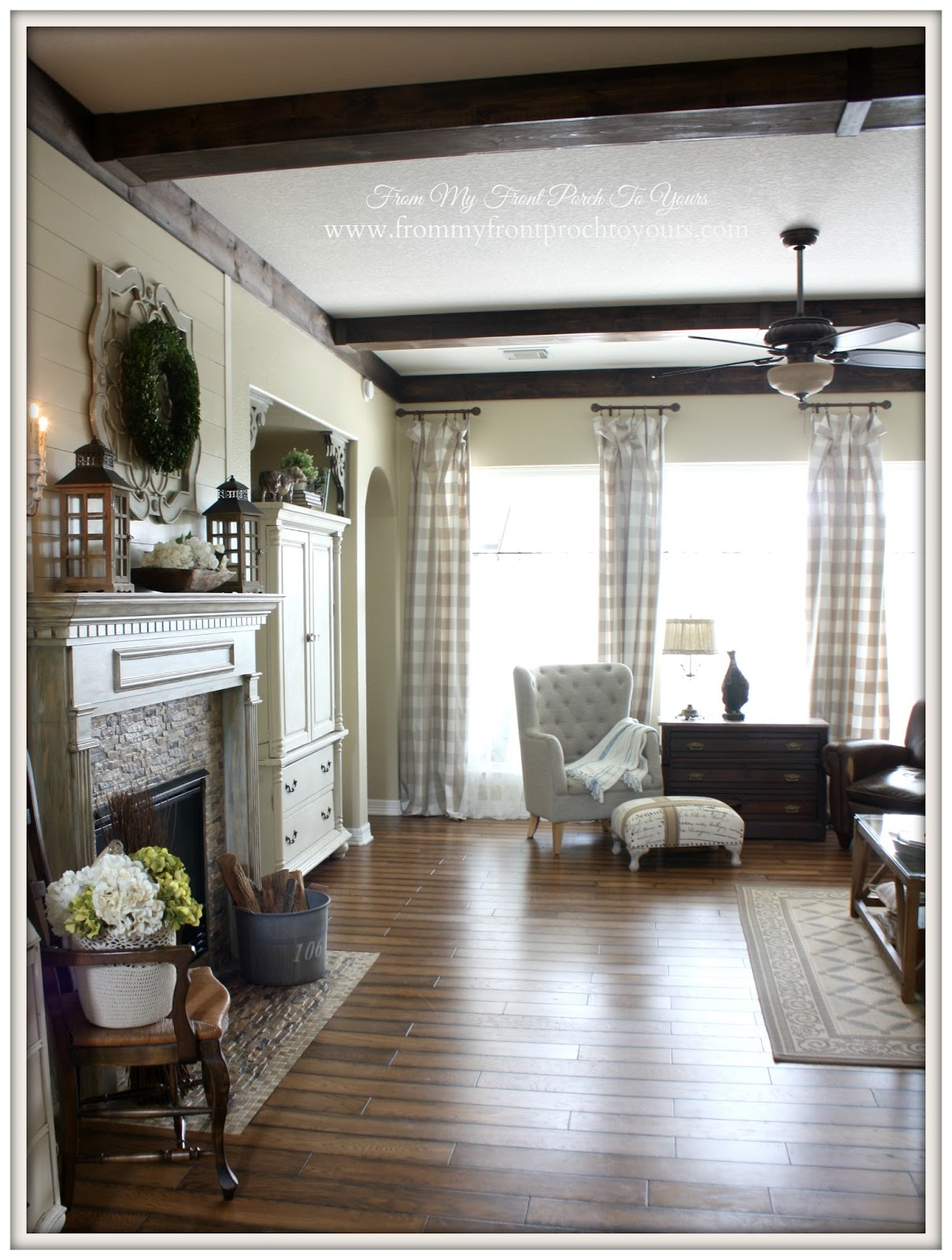 From my Front Porch To Yours shares their DIY wood beams in their French Farmhouse Living Room.