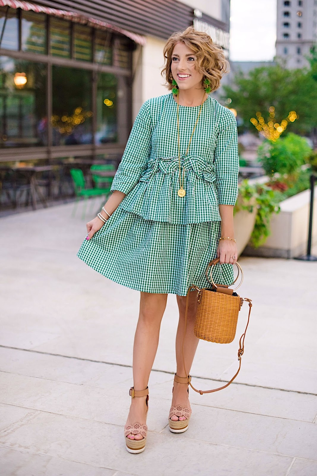 Emerald Green Ruffle Gingham Dress - Something Delightful Blog