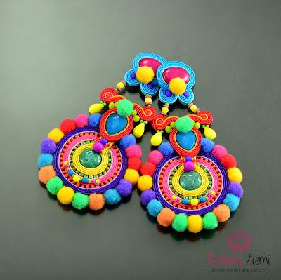 Pomponikowy raj – Soutache Earrings Colorful Matanya Pom Pom