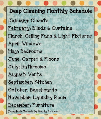 deep cleaning schedule monthly