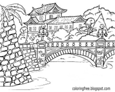 Stone bridge waterway Asia elegant garden pond coloring book page for adults printable drawing ideas