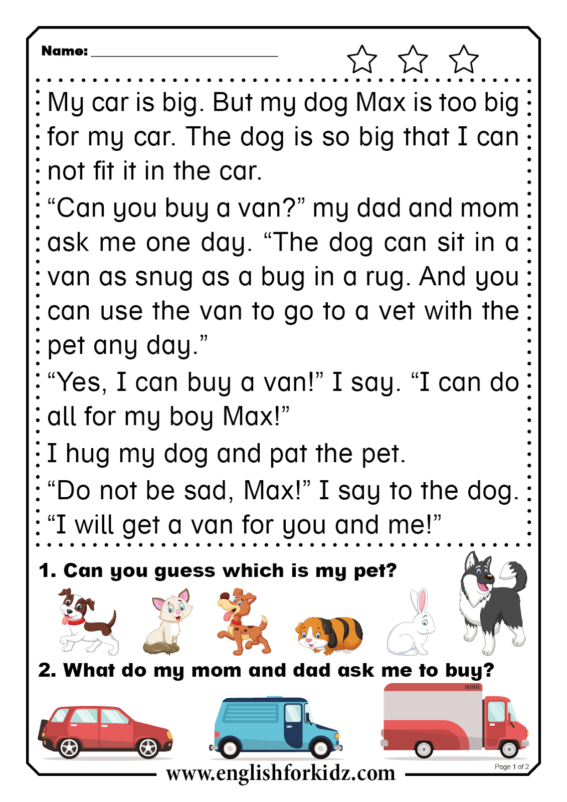 Reading Comprehension Worksheets Short Word Stories