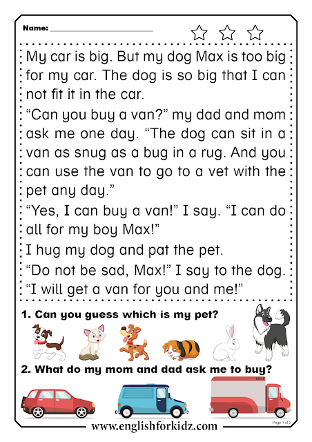 Easy reading comprehension passage - printable ESL worksheet for elementary school