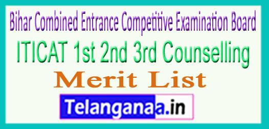 BCECEB ITICAT 1st 2nd 3rd Counselling Merit List Seat Allotment 2018