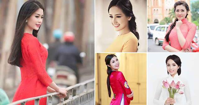 Kiểu tóc mặc áo dài đẹp duyên dáng của Sao Việt 2017