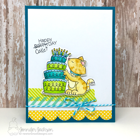 Cupcake Challenge Celebrates 400 Challenges! Cake and Cat Card by Jennifer Jackson | Newton Loves Cake Stamp Set by Newton's Nook Designs #newtonsnook