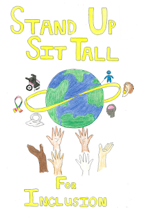 Stand up, sit tall for inclusion text in front of a drawing of a globe being held up with hands of different shades of brown, surrounded by a wheelchair, a rainbow pride ribbon, a person with a white cane, a hearing device, and the silhouette of a head with a pink brain