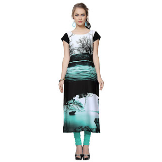 Ziyaa Black Natural Scene Kurti