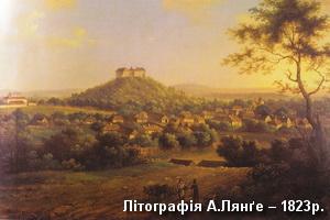 Замок на літографії Лянґе 1823р.