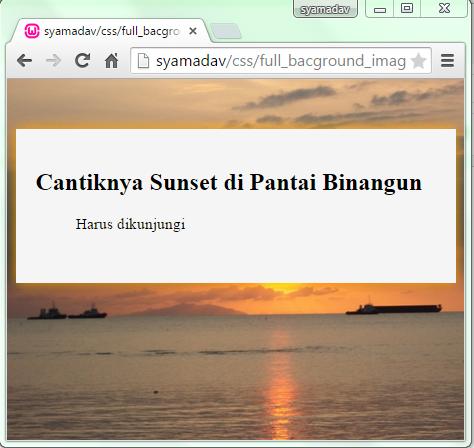 Cara Membuat Latar Belakang Web Menggunakan Gambar Dengan Css Syamadav