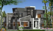 Box Type Home With Cantilever Balcony - Kerala Design