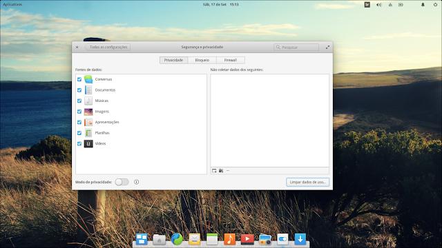 elementary OS configuração de privacidade