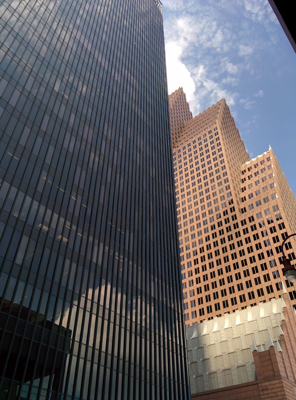 Two adjacent Philip Johnson skyscrapers