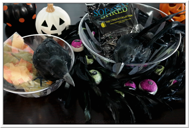 Supplies for Making an Easy Black Crow's Nest Halloween Candy Bowl Centerpiece  |  3 Garnets & 2 Sapphires