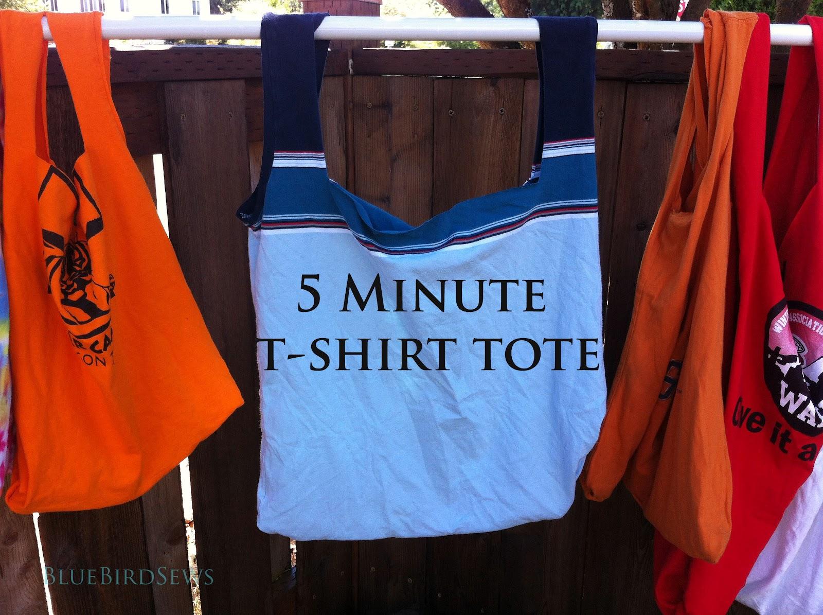 Blue Bird Sews: 5 Minute T-Shirt Tote Bag Tutorial
