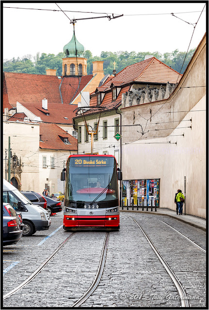 Tram 9320 on Letenská Street in Lesser Town Prague.