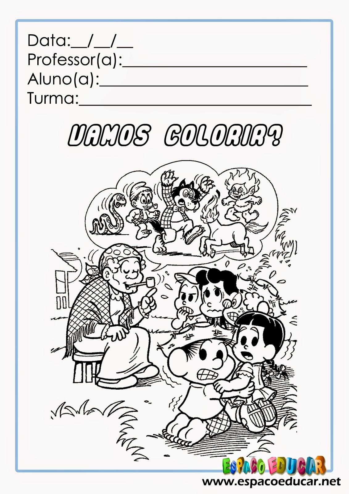 Desenhos Da Turma Da Monica No Folclore Para Colorir