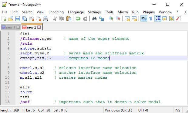 ANSYS APDL Syntax Highlighting editor
