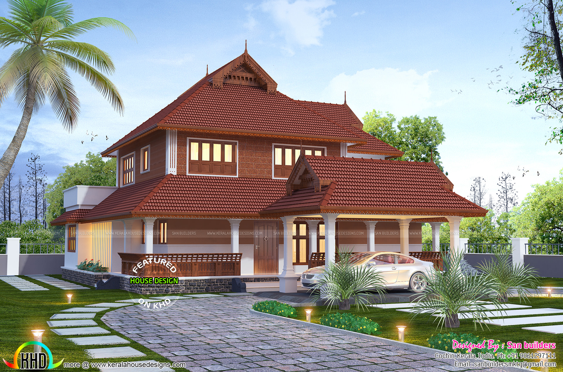 Traditional 2880 sq ft kerala home design kerala home for Traditional house plans kerala style