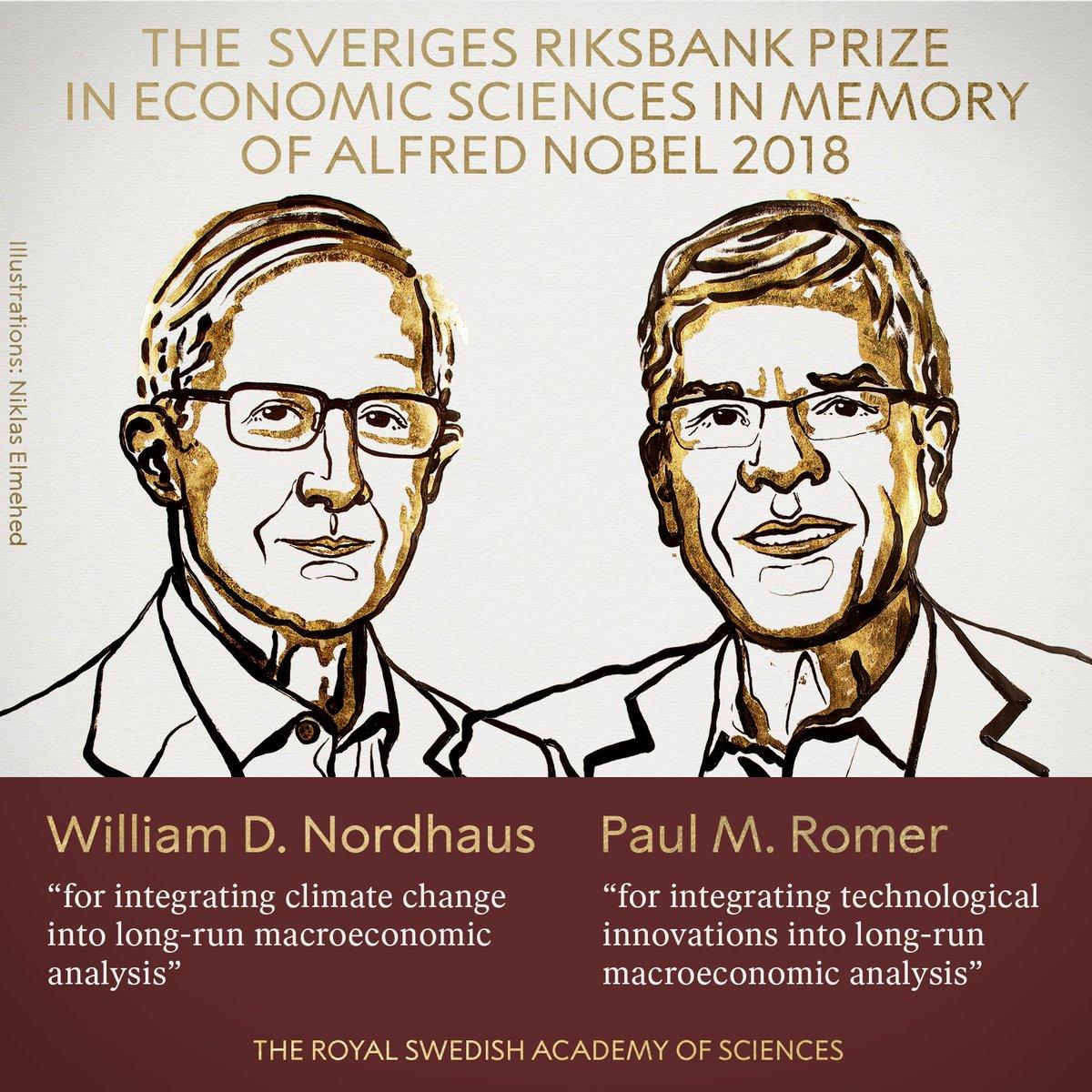 Nordhaus y Romer comparten el Nobel de Economía / NOBEL PRIZE