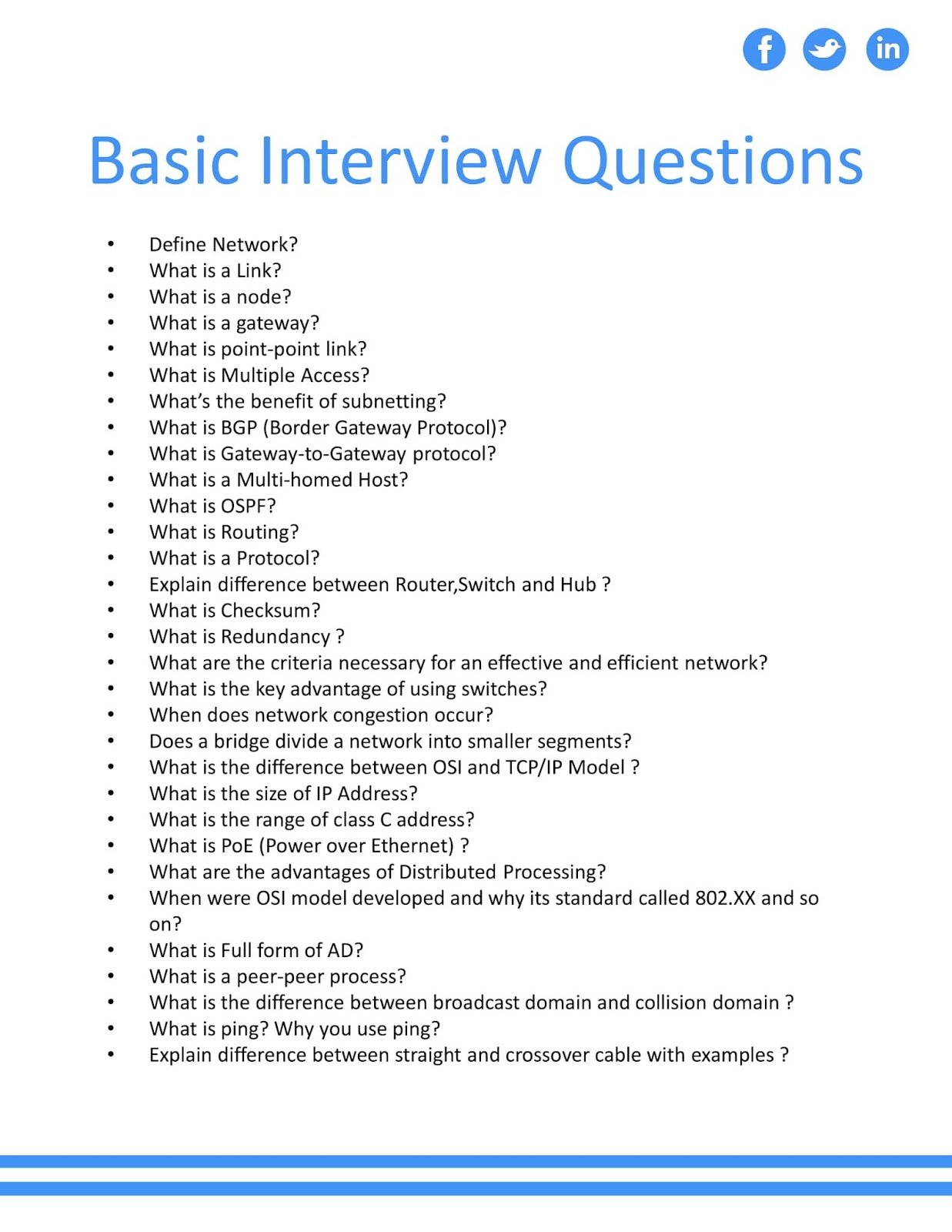Basic Networking Interview Questions - CCNA Academy-a Free ...